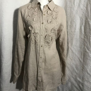 Charter Club Khaki Floral Embroidered Linen Tunic